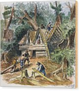 Building Houses, 17th C Wood Print