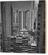 Buildings In Hong Kong Wood Print by All rights reserved to C. K. Chan