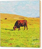 Bull Grazing In The Field Wood Print by Wingsdomain Art and Photography