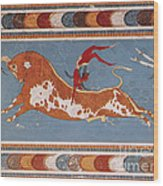 Bull-leaping Fresco From Minoan Culture Wood Print
