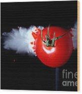 Bullet Hitting A Tomato Wood Print