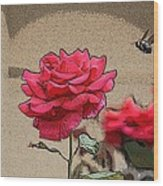 Bumble Bee And Rose Wood Print