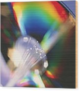 Bundle Of Optical Fibres Conducting Light Wood Print