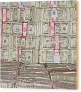 Bundles Of Five Dollar Bills Wood Print by Adam Crowley