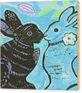 Bunnies In Love Wood Print by Patricia Lazar