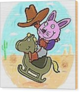 Bunny Cowboy Wood Print by Scott Nelson