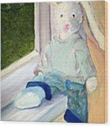 Bunny On Window Ledge Wood Print