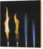 Bunsen Burner Flame Sequence Wood Print by
