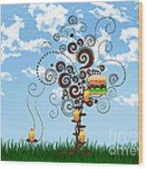 Burger Tree House And The Cupcake Kids  Wood Print