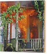 Burning House Wood Print