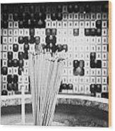 Burning Incense Joss Sticks In Columbarium Po Fook Hill Cemetery Sha Tin New Territories China Wood Print by Joe Fox