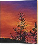 Burning Sunrise Wood Print