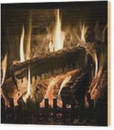 Burning Wood On An Open Fire Wood Print