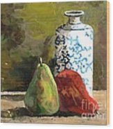 Burnished Pears With Vase Wood Print