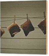 Burnt Toast Hanging On Clothesline Wood Print
