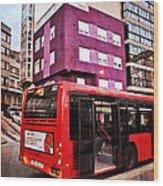 Bus Stop - La Coruna Wood Print