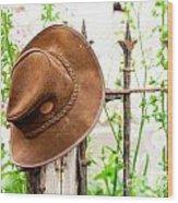 Bush Hat On Railing Wood Print
