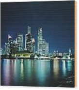 Business District Skyline At Night Wood Print
