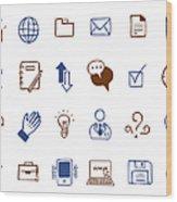 Business Icon Set Wood Print