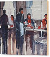 Business Lunch Wood Print