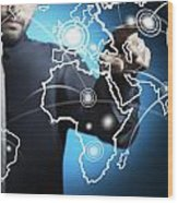 Businessman Touching World Map Screen Wood Print by Setsiri Silapasuwanchai