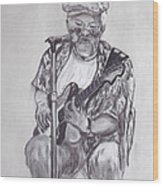 Busking 1 Wood Print by Peter Edward Green