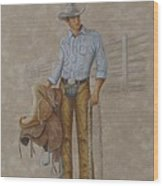 Busted Bronc Rider Wood Print
