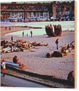 Busy City Beach Wood Print