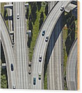 Busy Freeway Interchange Wood Print by Don Mason