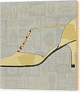Butter Yellow Leather T Strap Heel Wood Print