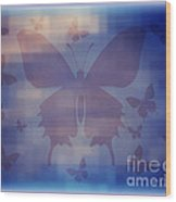 Butterflies In Blue Wood Print