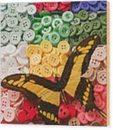 Butterfly And Buttons Wood Print