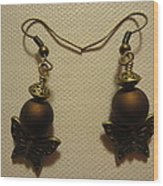 Butterfly Brown Earrings Wood Print by Jenna Green