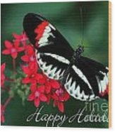 Butterfly Holiday Card Wood Print