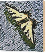 Butterfly In Rain Wood Print