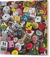 Buttons And Dice Wood Print