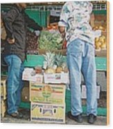 Buying Fruit Wood Print