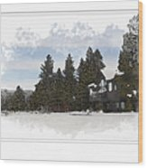 Cabin In Snow With Mountains In Background Wood Print