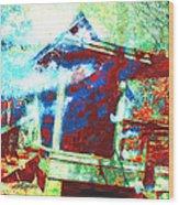 Cabin In The Fog Wood Print