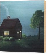 Cabin In The Moonlight Wood Print