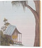 Cabin In The Swamp Wood Print