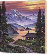 Cabin On The Lake Wood Print