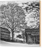 Cabin Under Buttermilk Skies Vignette Wood Print