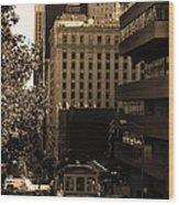 Cablecar On San Francisco California Street . Sepia . 7d7176 Wood Print