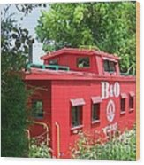 Caboose In The Trees Wood Print