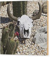 Cactus And Cow Skull Wood Print