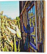 Cactus Reflection Wood Print