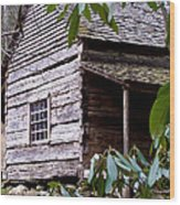 Cades Cove Cabin Wood Print by Jim Finch