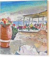 Cafe On Agios Georgios Beach Wood Print