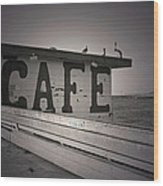 Cafe On The Pier Wood Print